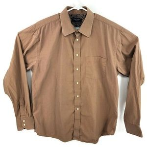 Ted Baker 6.5 36/37 Brown Button Down Shirt